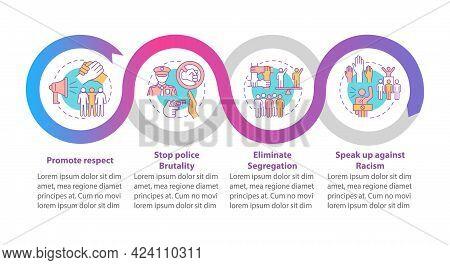 Confronting Racism Vector Infographic Template. Stop Segregation Presentation Outline Design Element