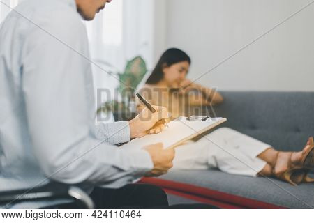 Professional Psychiatrist Talking And Counsel To Woman Patient,suicide Prevention,medical Conditions