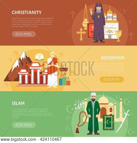 Color Horizontal Flat Banners About Religion Confession Christianity Buddhism Islam Vector Illustrat