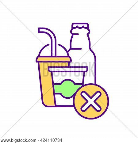 Reduce Fizzy Water Rgb Color Icon. Isolated Vector Illustration. Avoid Consumption Of Harmful Drinks
