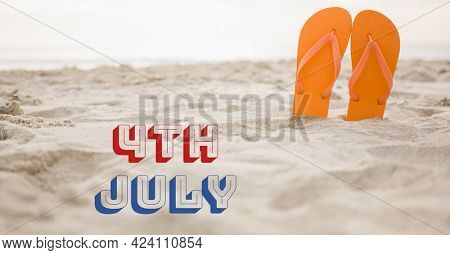 Composition of 4th of july text with flip flops in sand. united states of america celebration, holiday, patriotism and independence concept digitally generated image.