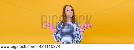 Portrait Female Student Hold Copy Space With Two Hands In Gloves Makes Choice Portrait On Yellow Bac