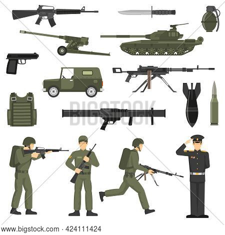 Army Icons Collection With Military Soldiers Officers Servicemen  Ammunition Weapon And Machinery Ol