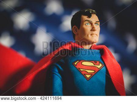 JUNE 17 2021: DC Comics Superman American Hero - Mego Corp action figure