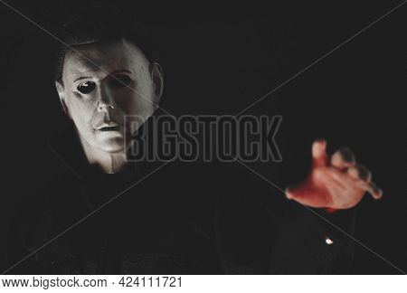 JUNE 17 2021: Halloween slasher Michael Myers reaching for a victim - Trick or Treat Studios Action Figure