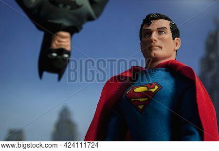 JUNE 17 2021: DC Comics Batman verses Superman concpet - Mego Corp action figure