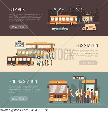City Bus Public Transport Service Information 3 Flat Horizontal Banners With Terminus Depot Station