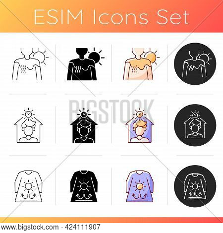 Sunburn And Sunstroke Prevention Icons Set. Irritation On Skin From Sun Burn. Stay Home During Heatw