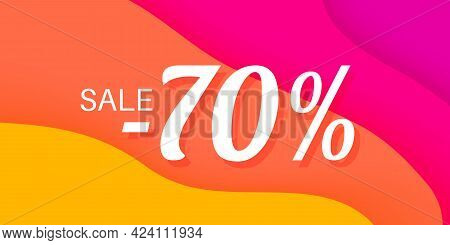 70 Percent Sale Lettering On Wavy Paper Colorful Background