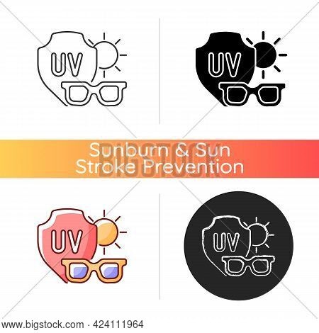 Sunglasses Icon. Glasses For Eye Protection From Uv Rays. Preventing Sun Exposure And Ultraviolet Da