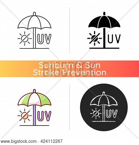 Seek Shade Icon. Hide Under Umbrella While On Beach During Summer. Uv Rays Protection To Avoid Heats