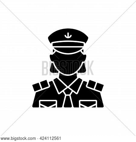 Female Chief Officer Black Glyph Icon. Helping Ship Captain Controlling Staff. Crew Member Of Cruise