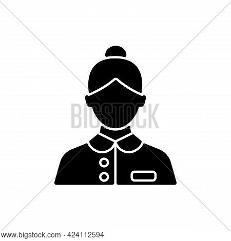 Abin Steward Black Glyph Icon. Cleaning Room Of Passengers During Traveling. Answering Questions Of