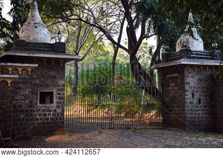 Stock Photo Of Vintage Entrance Gate Of Shalini Palace In Kolhapur City Maharashtra India. Focus On