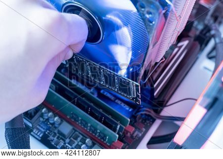 The Inserting Plug In The Ram Ddr Memory Card In The Computer Mainboard, Random Access Memory