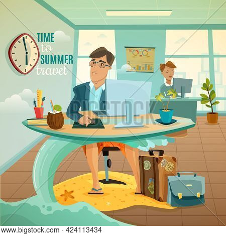 Sad Office Clerk Dreaming Of Travel During Summer Vacation Fantasy Cartoon Vector Illustration