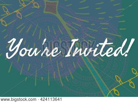 You are invited text against colorful floral designs on green background. invitation card background template design
