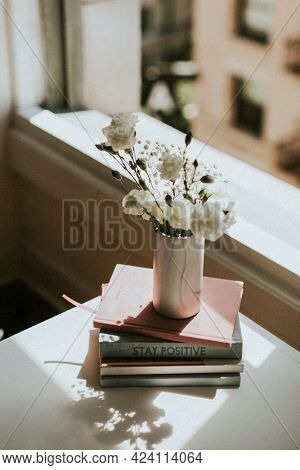 White carnations in a white marble vase by a window