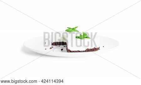 Cheesecake Isolated On A White Background. Cheesecake On Plate.