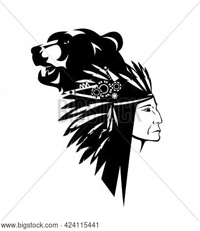 Native American Tribal Chief Wearing Feathered Headdress Nad Wild Bear Head - Black And White Vector