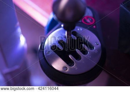 A Simple Abstract Manual Stick Shift Of A Car Gear Box, Auto Eight Speed Shift, In The Dark