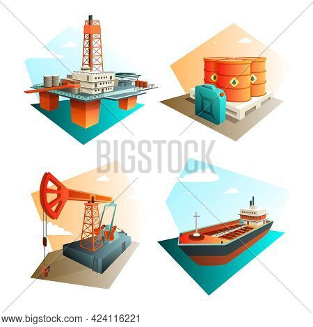 Petroleum Industry 4 Isometric Icons Square With Extraction Refining And Transportation Oil Fuel Gas