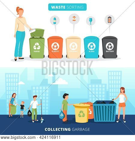 Waste Sorting Bins For Paper Plastic Glass And Batteries 2 Flat Banners With Garbage Collectors Abst