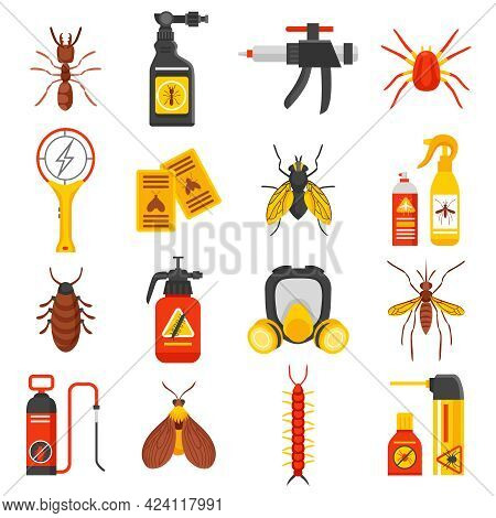 Pest Control Flat Icons Set With Tick Ant Mosquito Fly Cockroach Repellent And Insecticide Isolated