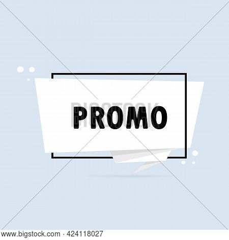 Promo. Origami Style Speech Bubble Banner. Sticker Design Template With Promo Text. Vector Eps 10. I