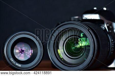 Macro, Telephoto Lens On A Slr Camera