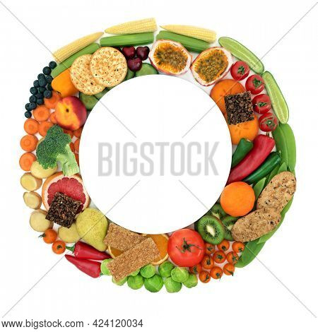 Vegan health food very high in dietary fibre and good for a healthy digestive system. Foods also high in antioxidants, anthocyanins, vitamins, omega 3, protein  minerals. With plate on white.