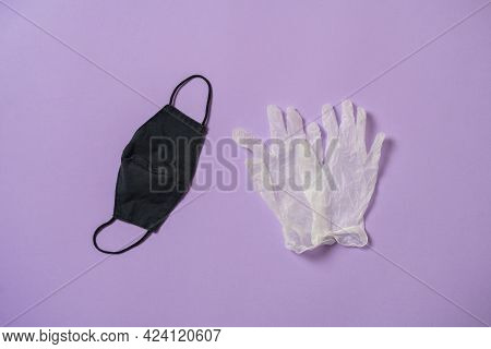 A Personal Protective Equipment, Mask And Gloves Flat Lay Isolated, Covid-19 Epidemiology Concept