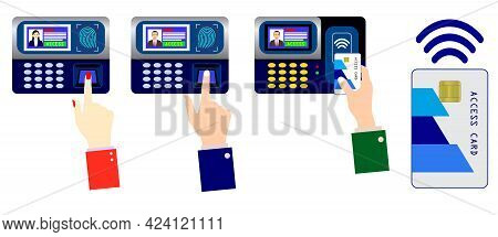 Set Of Realistic Fingerprint Absence Scanning Progress Isolated Or Security Systems Access Authoriza