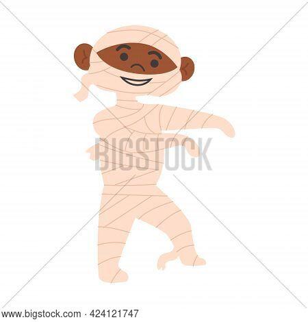 Halloween Kids Costume Party. Cute Afro American Boy With Dark Skin In Halloween Mummy Costume. Cart