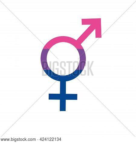 Vector Flat Bi Bisexual Bigender Flag Sign Isolated On White Background