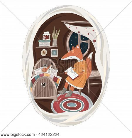 Kind Mother Fox Reads A Book To Her Baby Fox For The Night In A Cozy Hole. Vector Illustration.