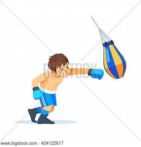 Boxer Teen With Bags Of Sand Boxing. Fitness, Sport, Exercise, Willpower And The Concept Of Lifestyl