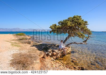 Young Woman Sitting In The Shade Of A Tree On The Seafront Of Paros Island. Cyclades, Greece
