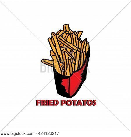 Fried Potato Design Logo Vector. Fried Potato Logo Restaurant