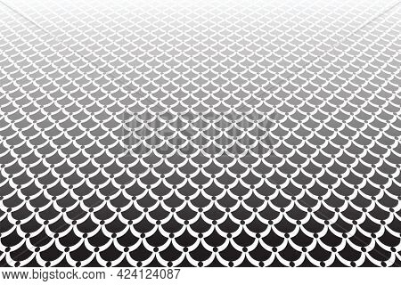 Fish scale pattern in diminishing perspective view. Abstract textured background.