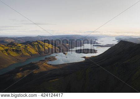 Aerial view of Highland in Iceland
