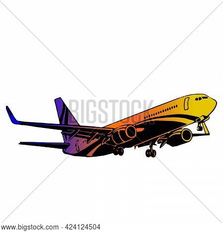Illustration Of Airplanes Silhouettes. Vector Cartoon Greed