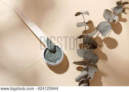 beauty, cosmetics and object concept - blue cosmetic clay mask in jar with wooden spatula and branch of eucalyptus populus on beige background