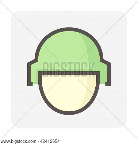 Soldier Vector Line Icon Front View. Consist Of Man Person And Safety Hat Or Helmet For Head Protect