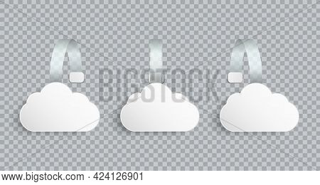 White Realistic Blank Advertising Wobblers In Cloud Shape Isolated On Transparent Background. Round