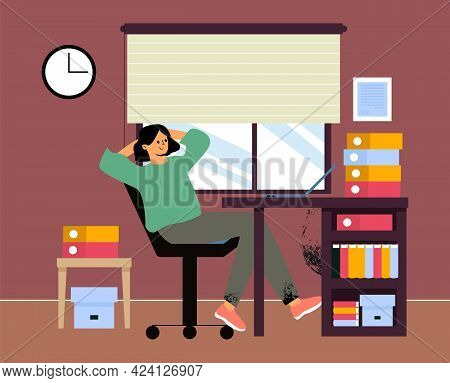 The Woman Sits At Work With Her Hands Behind Her Head And Dreams Of Rest, Dreams Of The Sea At Work.