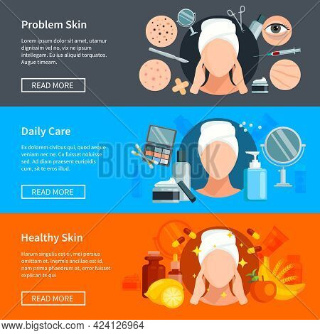 Skin Care Flat Horizontal Banners With Problem Skin Treatments Daily Cosmetics And Healthy Skin Desi