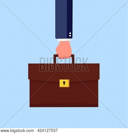 Businessman Holding Suitacase. Hand Holding Briefcase. Business Concept. Vector Stock