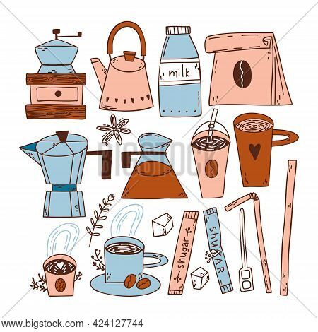 Doodle Set With Coffee Beans, Cups Of Coffee, Paper Coffee Bag, Coffee Pot, Geyser Coffee Maker, Ket