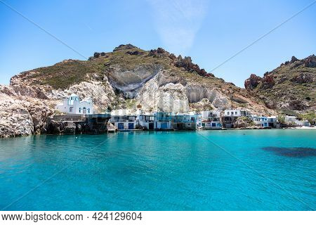 Traditional Fishing Village Firopotamos, Milos Island, Cyclades, Greece